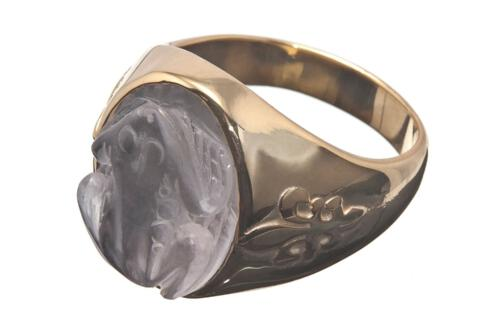 Rock Crystal Frog Ring - Gold Plated Sterling Silver 925