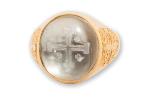 Crystal Ring - Jerusalem Cross - Gold Plated Sterling Silver 925