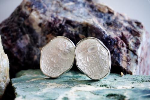 Rock Crystal Skull Cufflinks - Sterling Silver