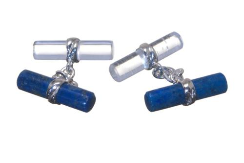 Mixed Cylinder Cufflinks - Lapis & Rock Crystal - Sterling Silver