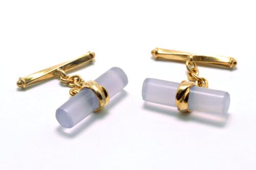 Rock Crystal Chain & Bar Cylinder Cufflinks - Gold Plated Sterling Silver