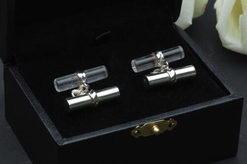 Mixed Double Cylinder Cuff Links - Rock Crystal & Solid Silver - Sterling Silver