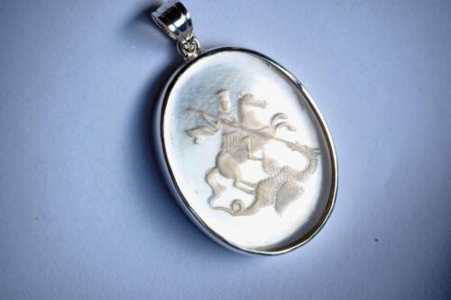 St George Rock Crystal pendant - Sterling Silver