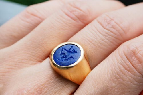 Lapis Wolf Ring - Intaglio - Gold Plated Sterling Silver