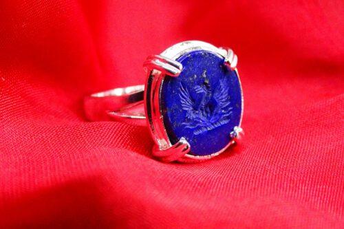 Lapis Phoenix Ring - Roman Style - Sterling Silver