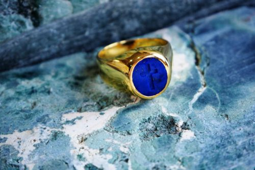 Lapis Christian Cross Ring - Gold Plated Sterling Silver