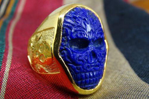 Solid 14K Gold Skull Ring - Lapis Lazuli