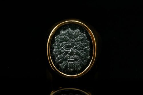 Black Onyx Green Man Ring - Gold Plated Sterling Silver