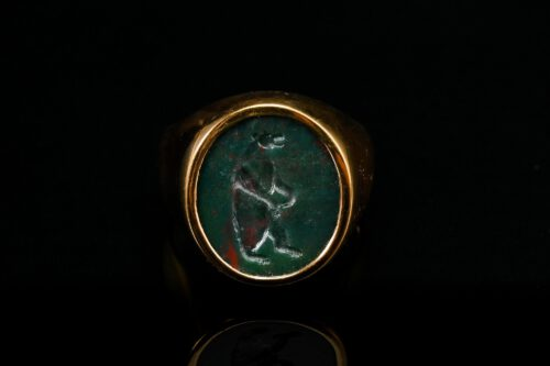 Bloodstone Bear Ring - Gold Plated Sterling Silver