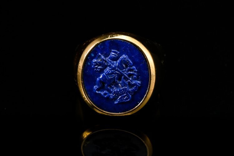 Saint George Ring - Lapis Lazuli - Gold Plated Sterling Silver