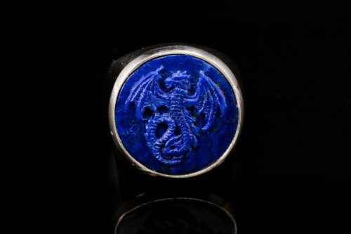 Lapis Wyvern Dragon Ring - Round Shape - Sterling Silver