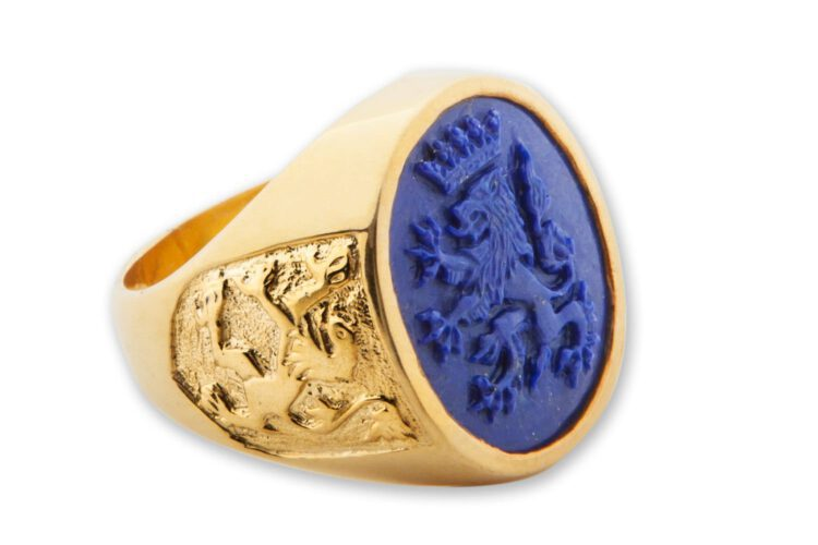 Lapis Lion Ring -Lion of Scotland Shoulders - Gold Plated Sterling Silver
