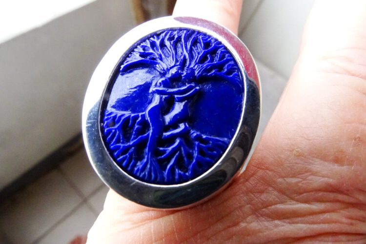 Lapis Tree Of Life Ring - Gold Plated Sterling Silver