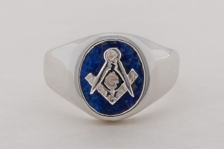 Masonic Ring - Lapis Smallest Size - Set Square & Compass - Sterling Silver