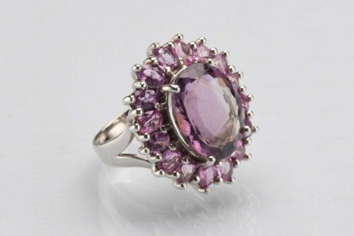 Unique Faceted Amethyst Ring - Sterling Silver