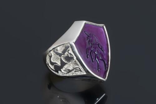 Amethyst Shield Shaped Unicorn Ring