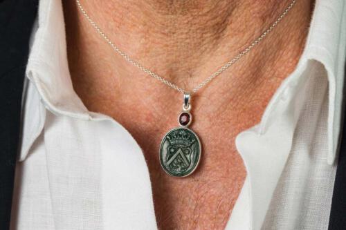 Bloodstone Family Crest Pendant - Sterling Silver 925