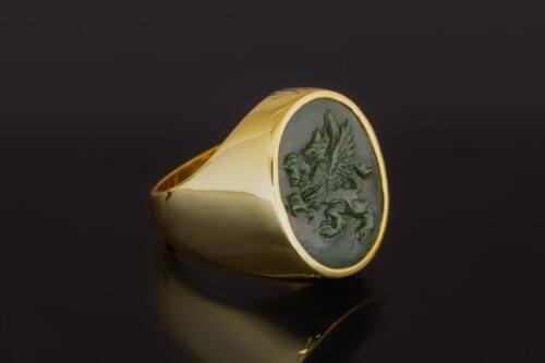 Heraldic Bloodstone Griffin Ring