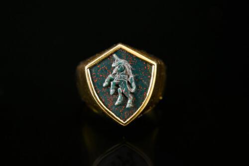 Shield Shape Bloodstone Unicorn Ring