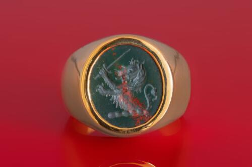 Engraved Bloodstone Lion and Sword Ring