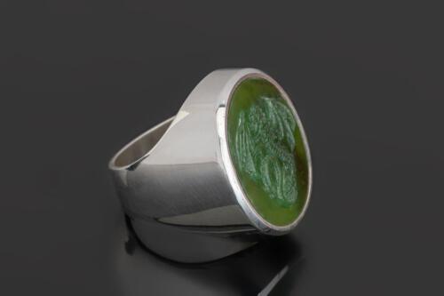 Jade Celtic Dragon Ring on Sterling Silver