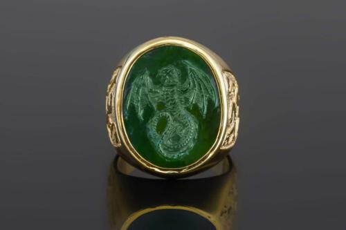 Jade Celtic Wyvern Dragon Ring