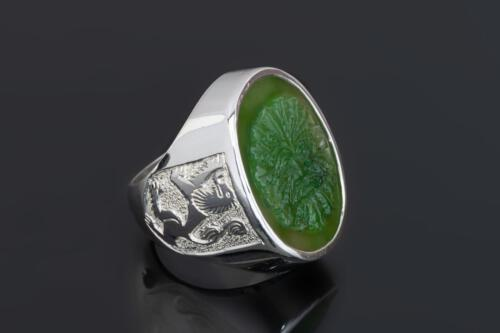 Canada Jade Greenman ring with Lion of Scotland Shoulders