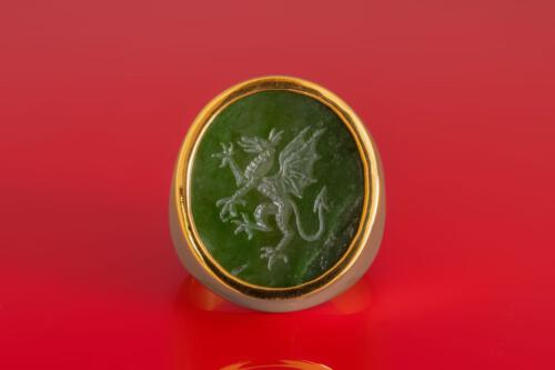 Engraved Jade Griffin Ring
