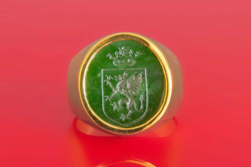Celtic Jade Ring with Welsh Dragon & Shield