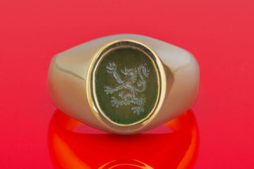 Jade Lion Signet Ring