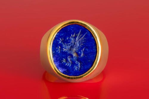 Engraved Heraldic Griffin Ring