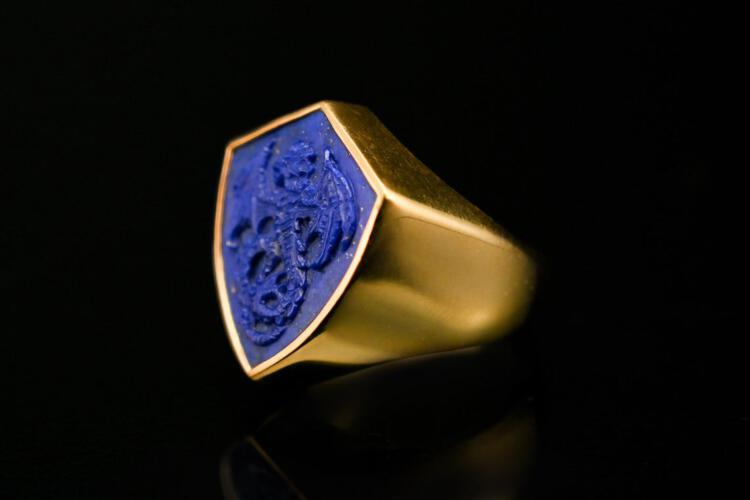 Lapis Shield Shaped Welsh Wyvern Dragon Ring