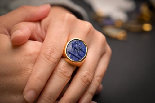Lapis Lazuli Sparrow Hawk Ring
