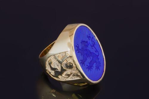 Large Lapis Lazuli Engraved Lion Ring