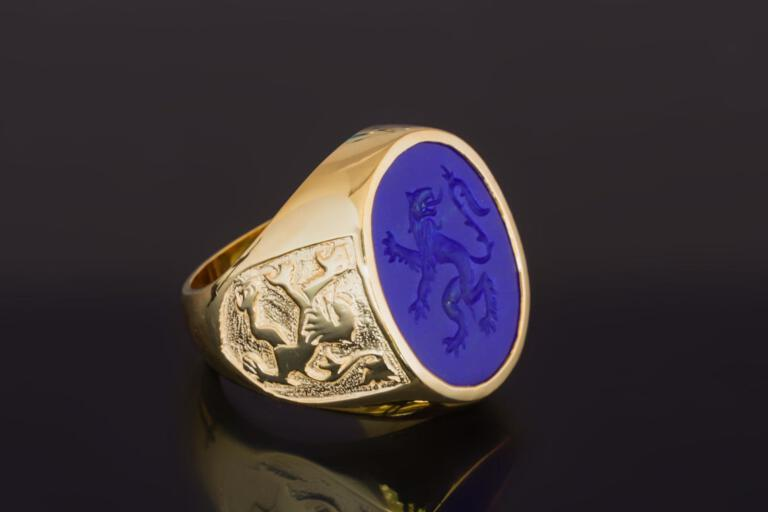 Lapis Lazuli Engraved Lion Ring