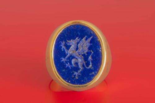 Lapis Lazuli Heraldic Griffin Ring