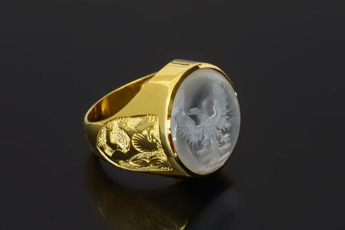 Rock Crystal Double Headed Eagle Ring
