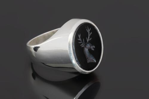 Black Onyx Stag Ring on Sterling Silver