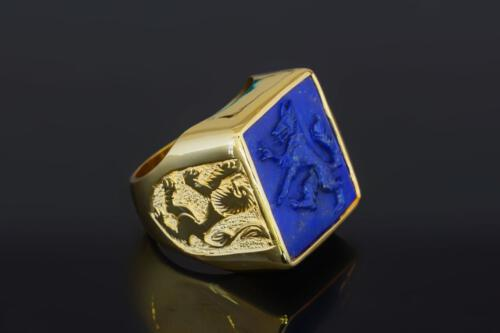 Square Carved Lapis Wolf Ring
