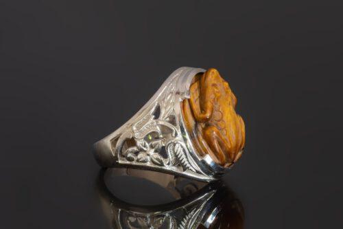 Tiger's Eye Frog Ring - Floral Shoulders - Sterling Silver