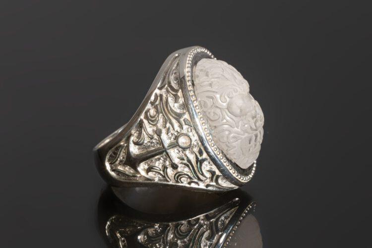 Rock Crystal Skull Ring - Anchor Shoulders - Sterling Silver