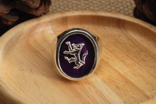 Amethyst Rampant Wolf Ring - Sterling Silver