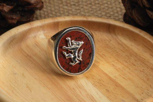 Red Jasper Rampant Wolf Ring - Sterling Silver