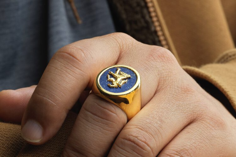 Lapis Wolf Ring Overlaid - Gold Plated Sterling Silver