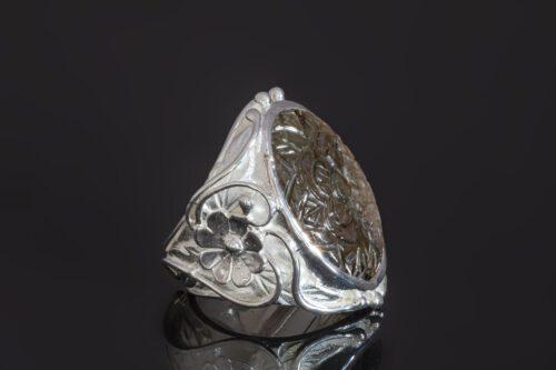 Carved Labradorite Ring - Unique - Sterling Silver