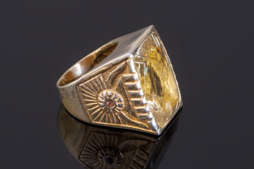 Rutilated Quartz Ring - Unique - Gold Plated Sterling Silver