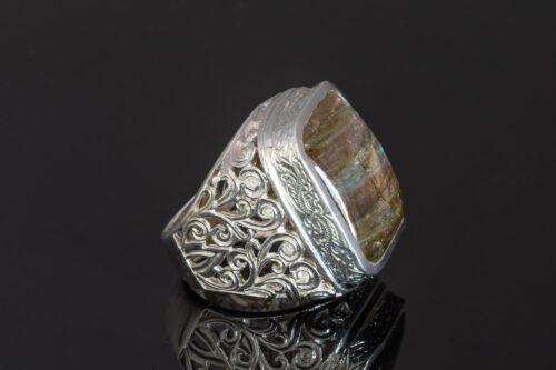 Square Labradorite Ring - Unique - Sterling Silver