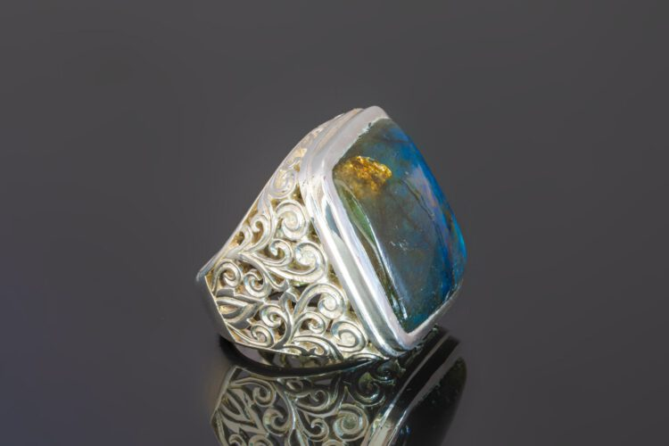Square Blue Labradorite Ring - Unique - Sterling Silver