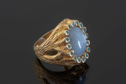 Sapphire Ring - Grey Star Cabochon - Gold Plated Sterling Silver
