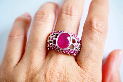 Ruby Ring - Unique - Sterling Silver